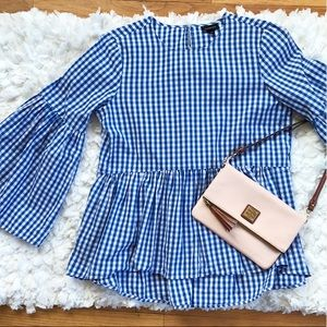 Who What Wear Gingham Peplum Blouse